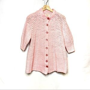 Crocheted by hand pink sweater coat